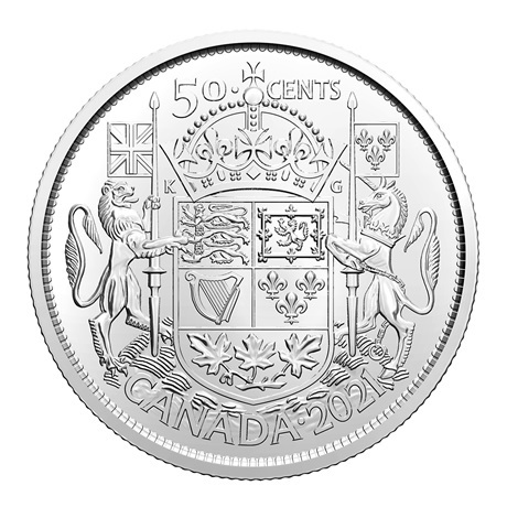 (W037.50.C.2021.1) 50 Cents Armoiries du Canada 2021 Revers