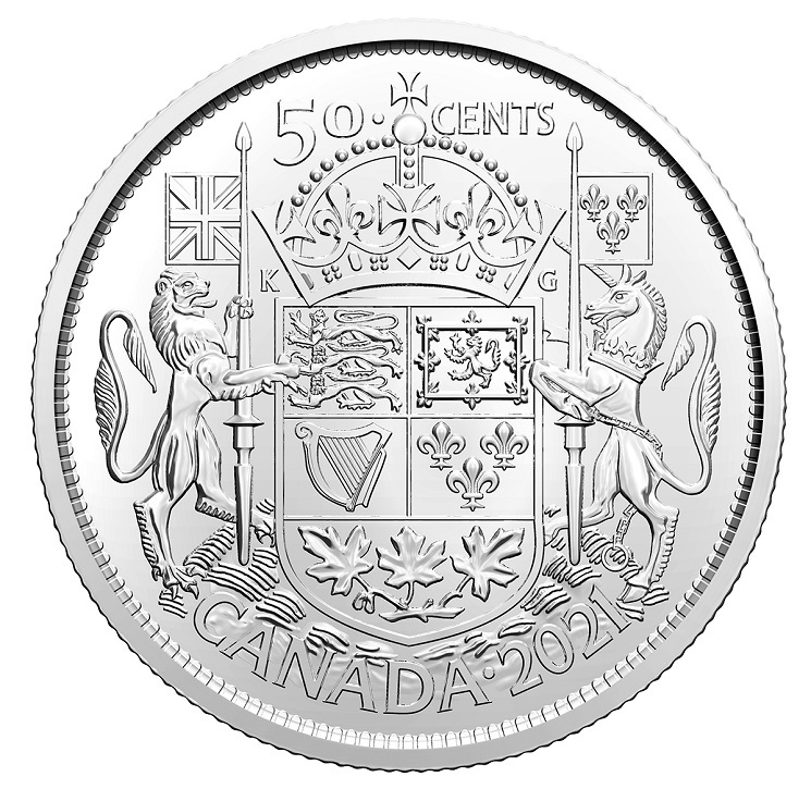 (W037.50.C.2021.1) 50 Cents Canada Coat of Arms 2021 Reverse (zoom)