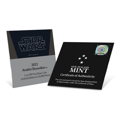 (W160.2.D.2021.30-01054) 2 Dollars Niue 2021 1 once Ag BE - Anakin Skywalker (certificat)