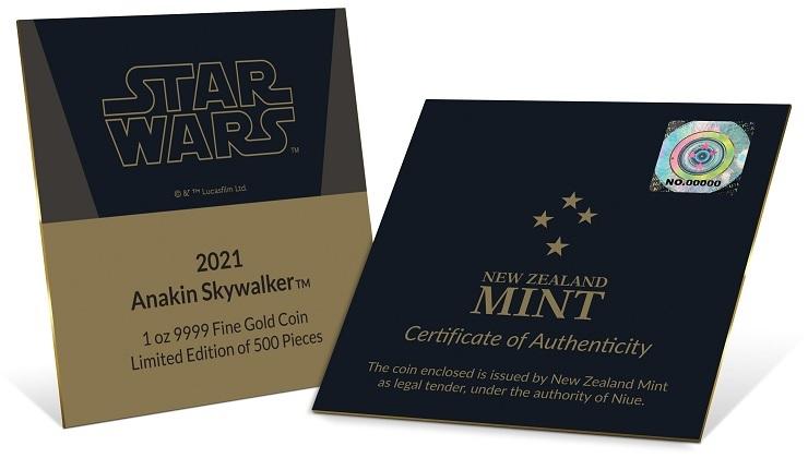 (W160.250.D.2021.30-01056) 250 Dollars Niue 2021 1 oz Proof Au - Anakin Skywalker (certificate) (zoom)