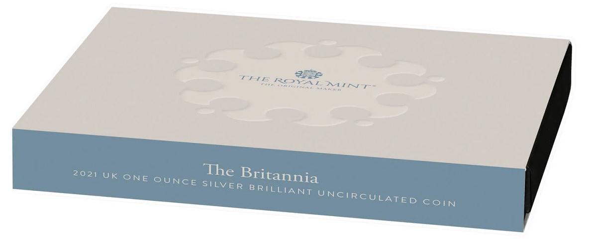 (W185.2.P.2021.BR21AGN) 2 £ United Kingdom 2021 1 ounce BU Ag - Britannia (packaging) (zoom)