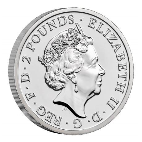 (W185.2.P.2021.BR21AGN) 2 Pounds Royaume-Uni 2021 1 once argent BU - Britannia Avers
