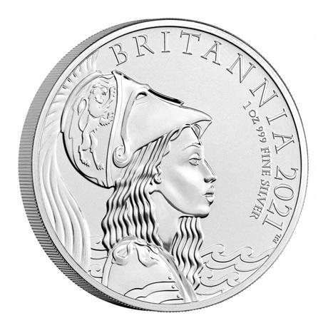 (W185.2.P.2021.BR21AGN) 2 Pounds Royaume-Uni 2021 1 once argent BU - Britannia Revers