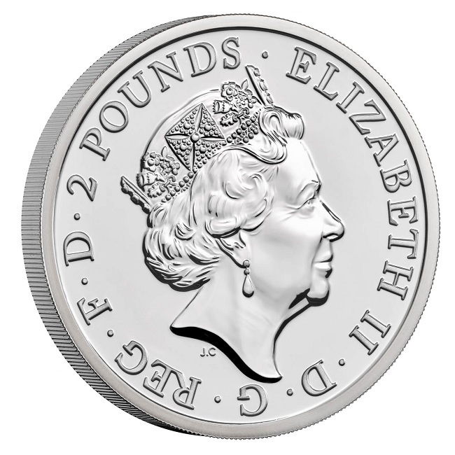 (W185.2.P.2021.BR21AGN) 2 Pounds United Kingdom 2021 1 oz BU silver - Britannia Obverse (zoom)
