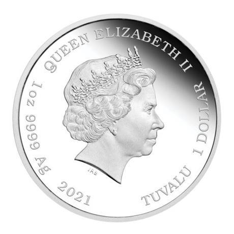 (W228.1.1.D.2021.21L06AAA) 1 Dollar Tuvalu 2021 1 once argent BE - Itchy et Scratchy Avers