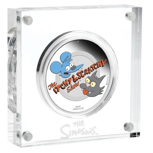 (W228.1.1.D.2021.21L06AAA) 1 Dollar Tuvalu 2021 1 ounce Proof Ag - Itchy & Scratchy (base) (zoom)