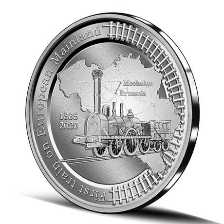 (EUR02.BE.2020.0108171) 5 € Belgique 2020 argent BE - Premier train continent européen Revers