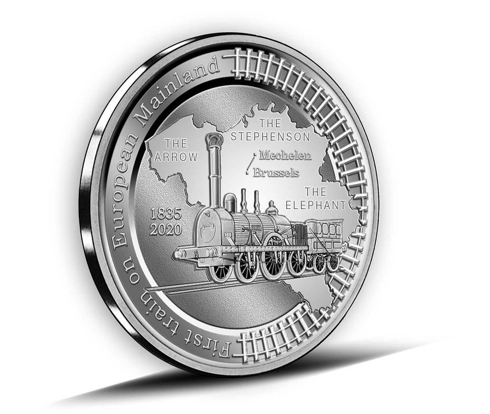 (EUR02.BE.2020.0108171) 5 € Belgium 2020 Proof silver - First train European continent Reverse (zoom)