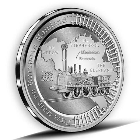 (EUR02.BE.2020.0108171) 5 euro Belgique 2020 Ag BE - Premier train continent européen Revers