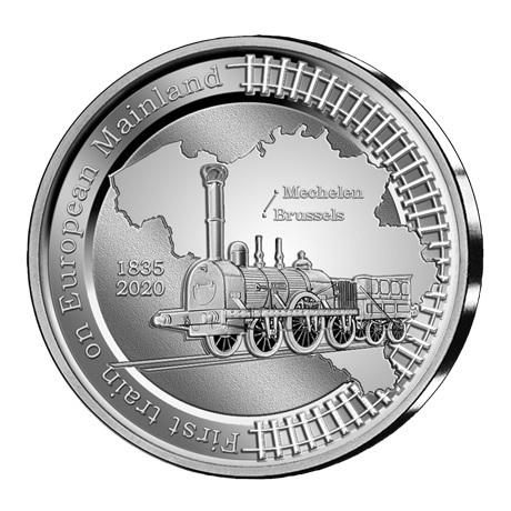 (EUR02.BE.2020.0108171) 5 euro Belgique 2020 argent BE - Premier train continent européen Revers