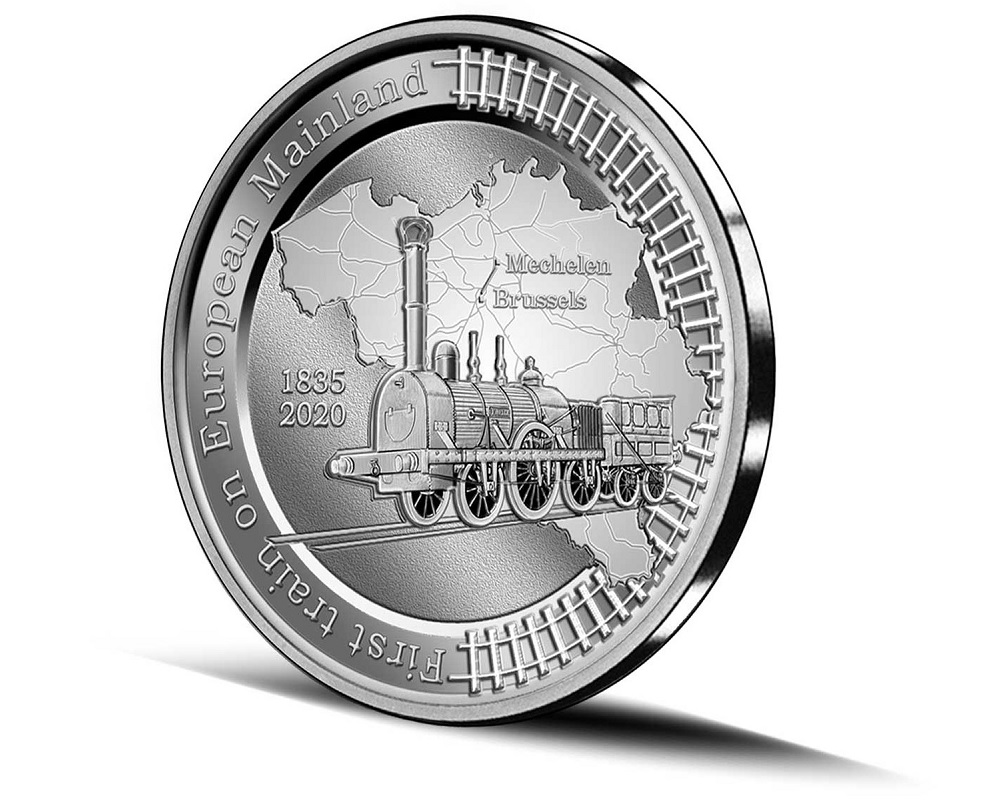 (EUR02.BE.2020.0108171) 5 euro Belgium 2020 Proof Ag - First train European continent Reverse (zoom)