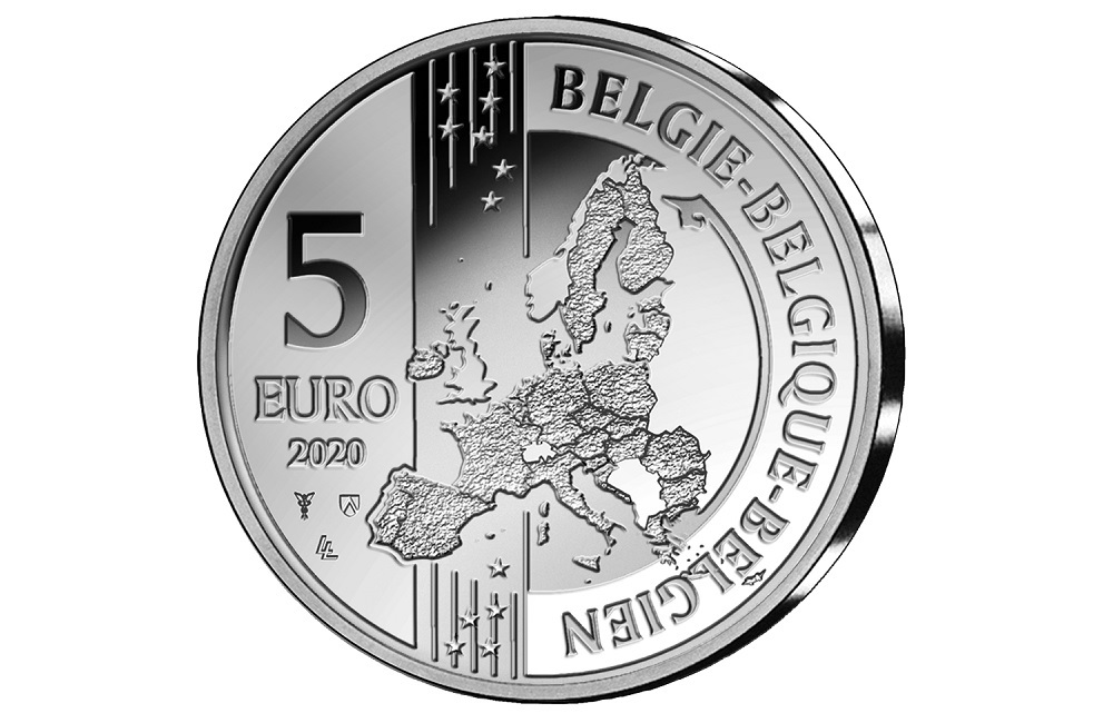 (EUR02.BE.2020.0108171) 5 euro Belgium 2020 Proof silver - First train European continent Obverse (zoom)