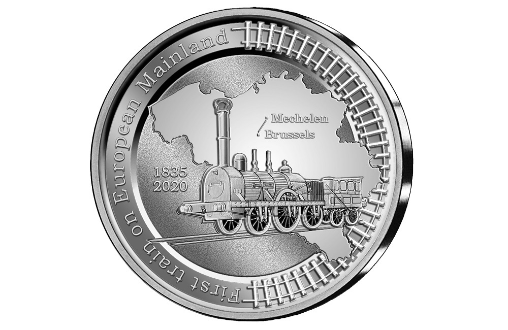 (EUR02.BE.2020.0108171) 5 euro Belgium 2020 Proof silver - First train European continent Reverse (zoom)