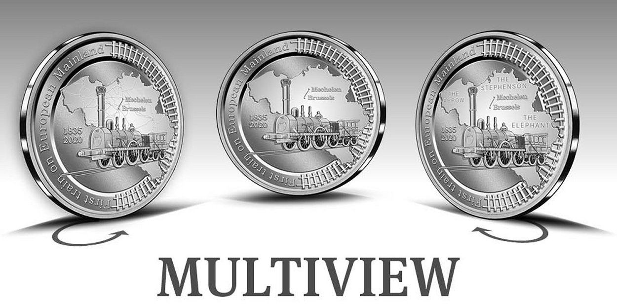 (EUR02.BE.2020.0108171) 5 euro Belgium 2020 Proof silver - First train European continent (zoom)