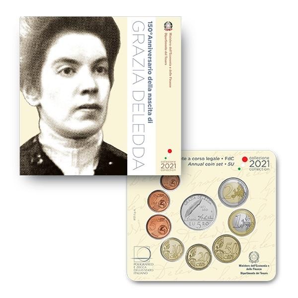 (EUR10.BU.set.2021.48-2MS10-21F019) BU coin set Italy 2021 (Grazia Deledda) (zoom)