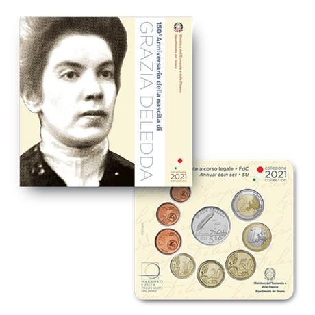 (EUR10.BU.set.2021.48-2MS10-21F019) Coffret BU Italie 2021 (Grazia Deledda)