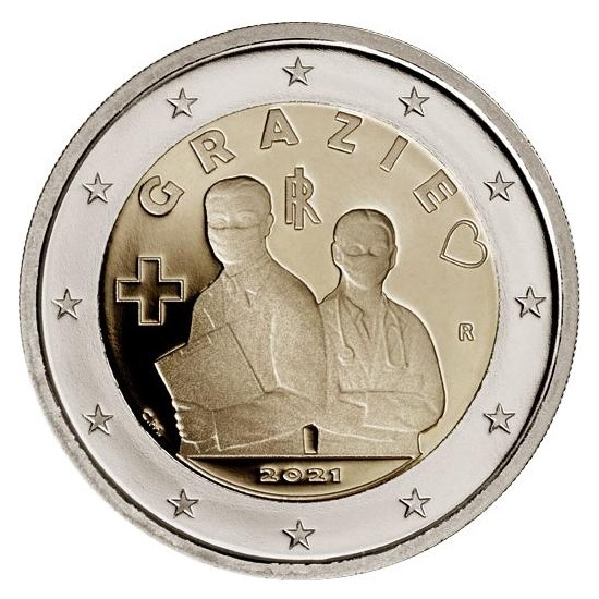 (EUR10.Proof.2021.48-2ms10-21p002) 2 euro Italy 2021 Proof - Thanks Obverse (zoom)