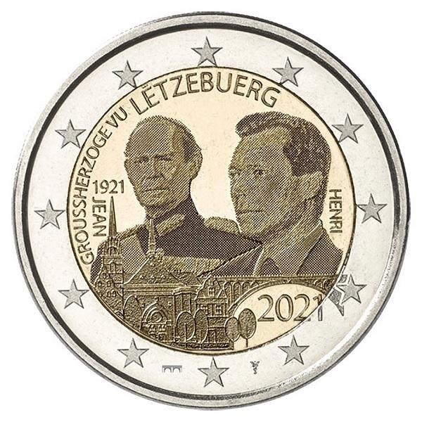 (EUR11.BU.set.2021.2) BU coin set Luxembourg 2021 - Rumelange (Grand Duke Jean) (2 €) (zoom)