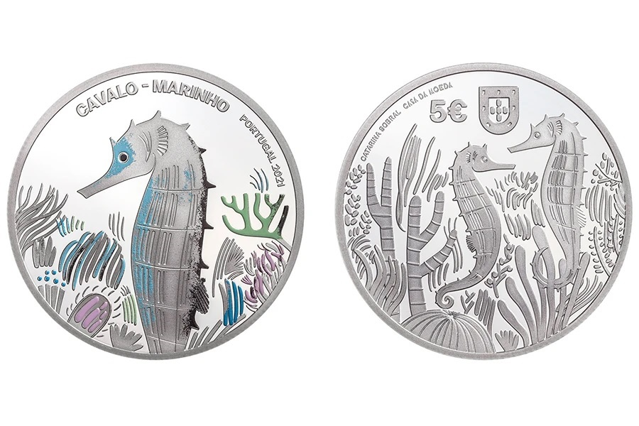 (EUR15.Proof.2021.1022831) 5 € Portugal 2021 Proof Ag - Sea Horse (zoom)