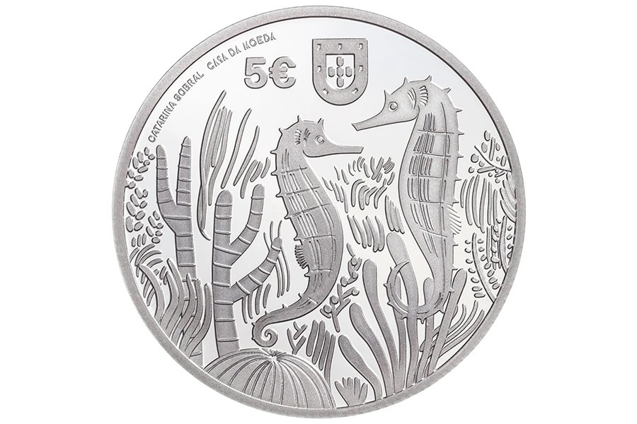 (EUR15.Proof.2021.1022831) 5 euro Portugal 2021 Proof silver - Sea Horse Obverse (zoom)