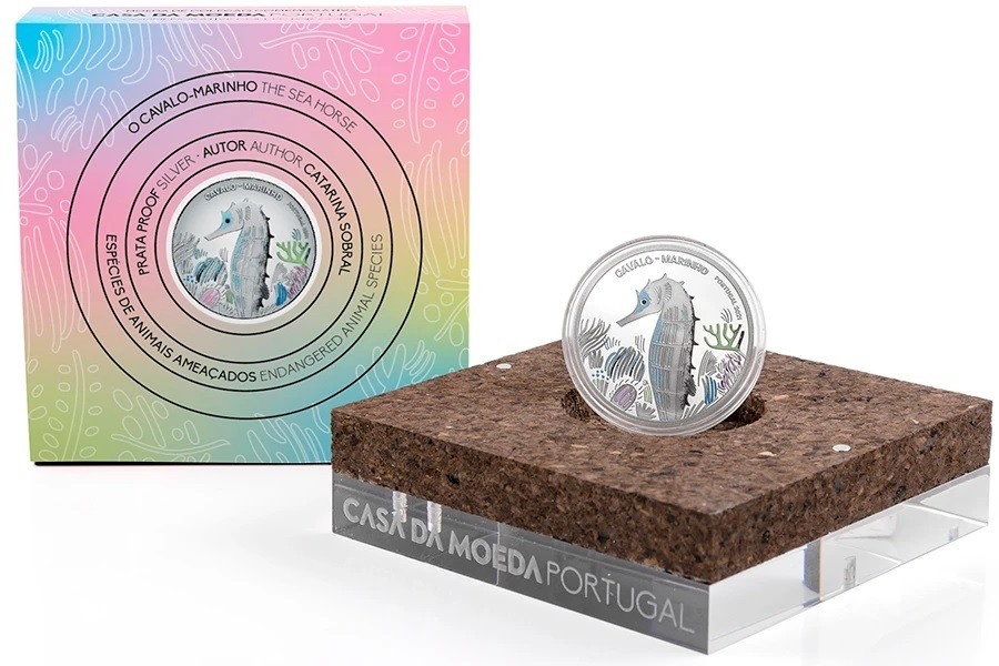 (EUR15.Proof.2021.1022831) 5 euro Portugal 2021 Proof silver - Sea Horse (packaging) (zoom)