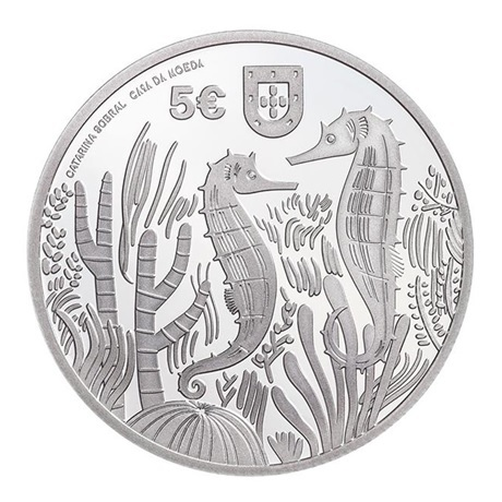 (EUR15.Proof.2021.1022831) 5 euro Portugal 2021 argent BE - Hippocampe Avers