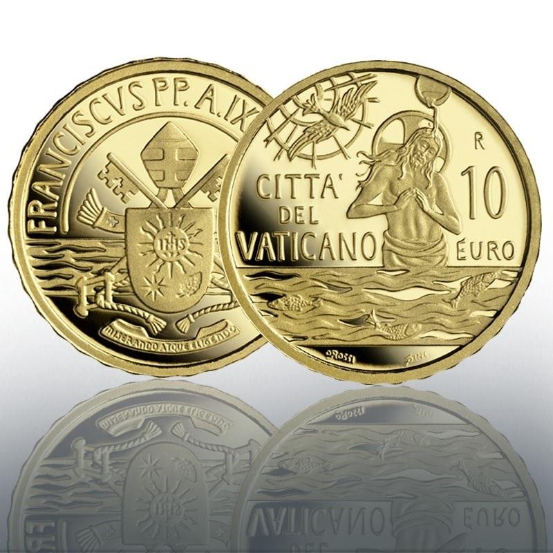 (EUR19.Proof.2021.CN1584) 10 € Vatican 2021 Proof Au - Sacrament of Baptism (zoom)