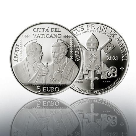 (EUR19.Proof.2021.CN1586) 5 € Vatican 2021 Ag BE - Association Saints Pierre et Paul