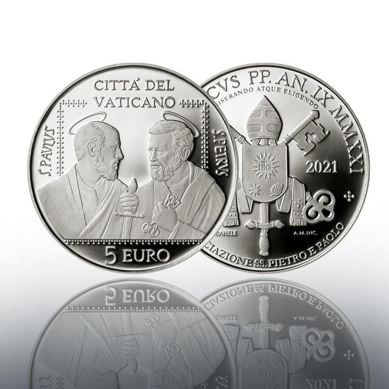 (EUR19.Proof.2021.CN1586) 5 € Vatican 2021 Proof Ag - Saints Pierre & Paul Association (zoom)