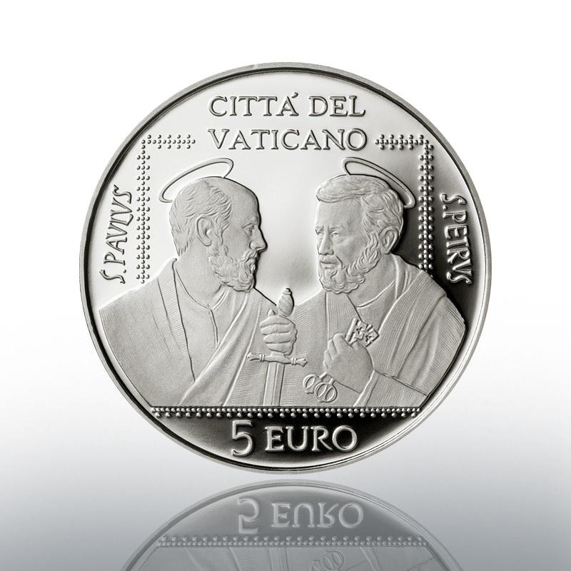 (EUR19.Proof.2021.CN1586) 5 euro Vatican 2021 Proof silver - Saints Pierre & Paul Association Obverse (zoom)