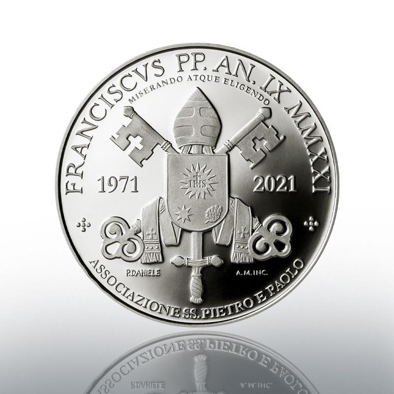 (EUR19.Proof.2021.CN1586) 5 euro Vatican 2021 Proof silver - Saints Pierre & Paul Association Reverse (zoom)