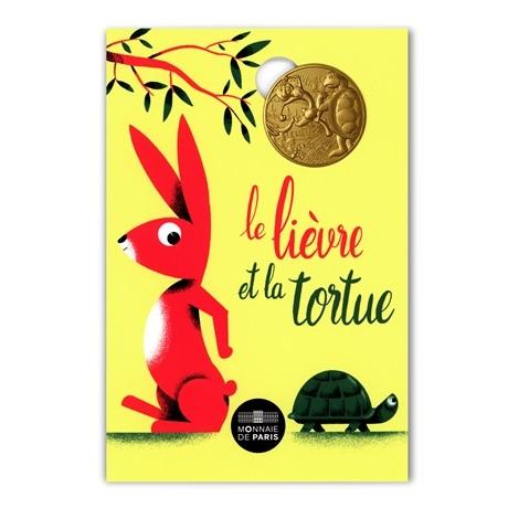 (FMED.Méd.souv.2021.10011357420000) Jeton souvenir - Le Lièvre et la Tortue Recto
