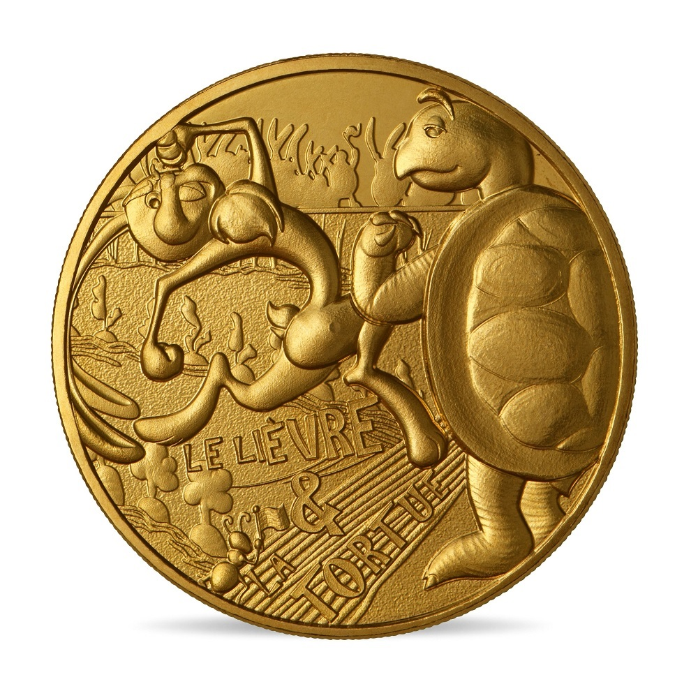(FMED.Méd.souv.2021.10011357420000) Memory token - The Hare and the Tortoise Obverse (zoom)
