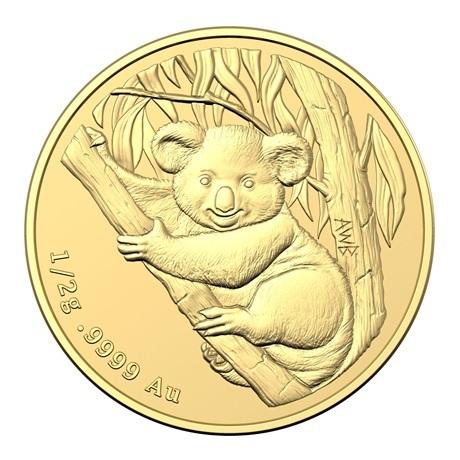 (W017.2.D.2021.10672) 2 Dollars Australie 2021 0,50 gramme or BU - Mini Koala Revers