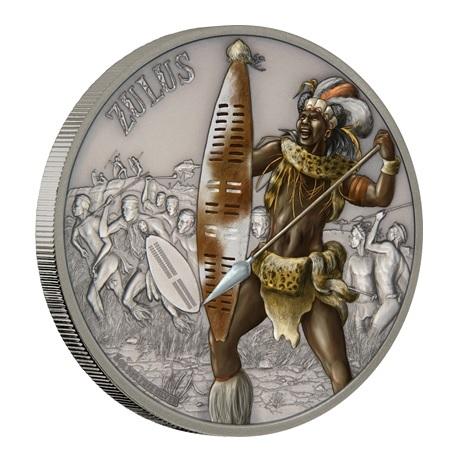 (W160.2.D.2017.1.oz.Ag.14) 2 Dollars Niue 2017 1 once Ag Antique - Zoulous (tranche)
