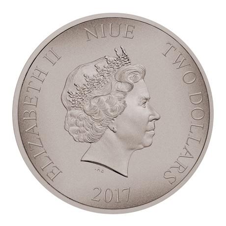 (W160.2.D.2017.1.oz.Ag.14) 2 Dollars Niue 2017 1 once argent Antique - Zoulous Avers