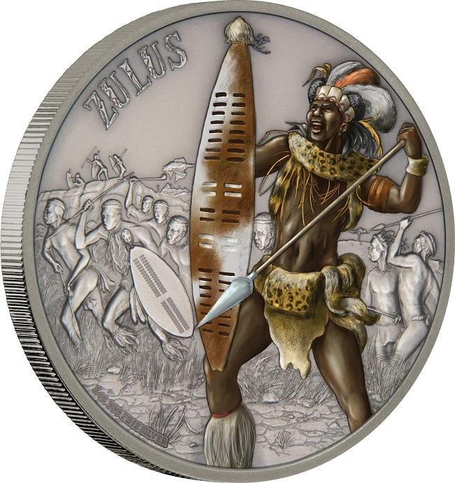 (W160.2.D.2017.1.oz.Ag.14) 2 Dollars Niue 2017 1 ounce Antique Ag - Zulus (edge) (zoom)