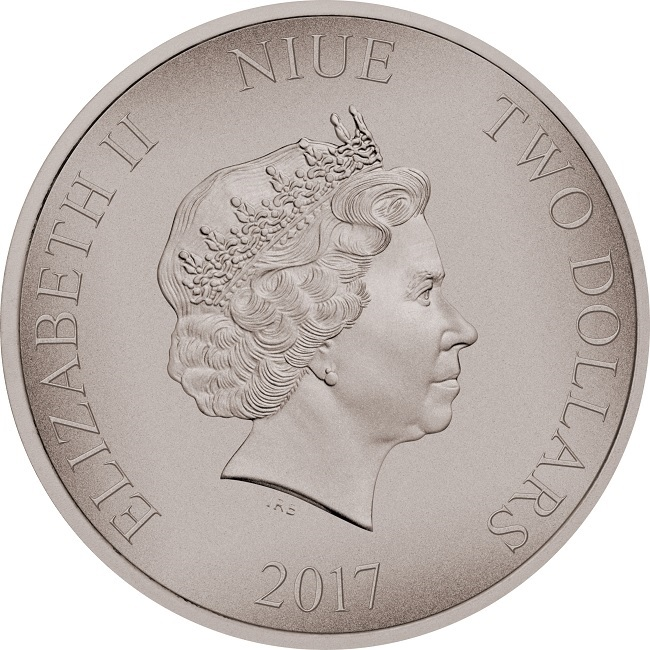 (W160.2.D.2017.1.oz.Ag.14) 2 Dollars Niue 2017 1 oz Antique silver - Zulus Obverse (zoom)