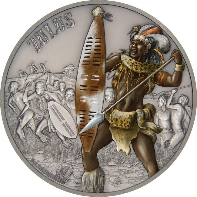 (W160.2.D.2017.1.oz.Ag.14) 2 Dollars Niue 2017 1 oz Antique silver - Zulus Reverse (zoom)