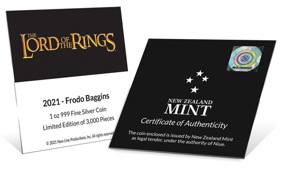 (W160.2.D.2021.30-01075) 2 $ Niue 2021 1 oz Proof silver - Frodo Baggins (certificate) (zoom)
