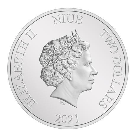 (W160.2.D.2021.NUAG100ST) 2 Dollars Niue 2021 1 once argent BE - La Créature du marais Avers