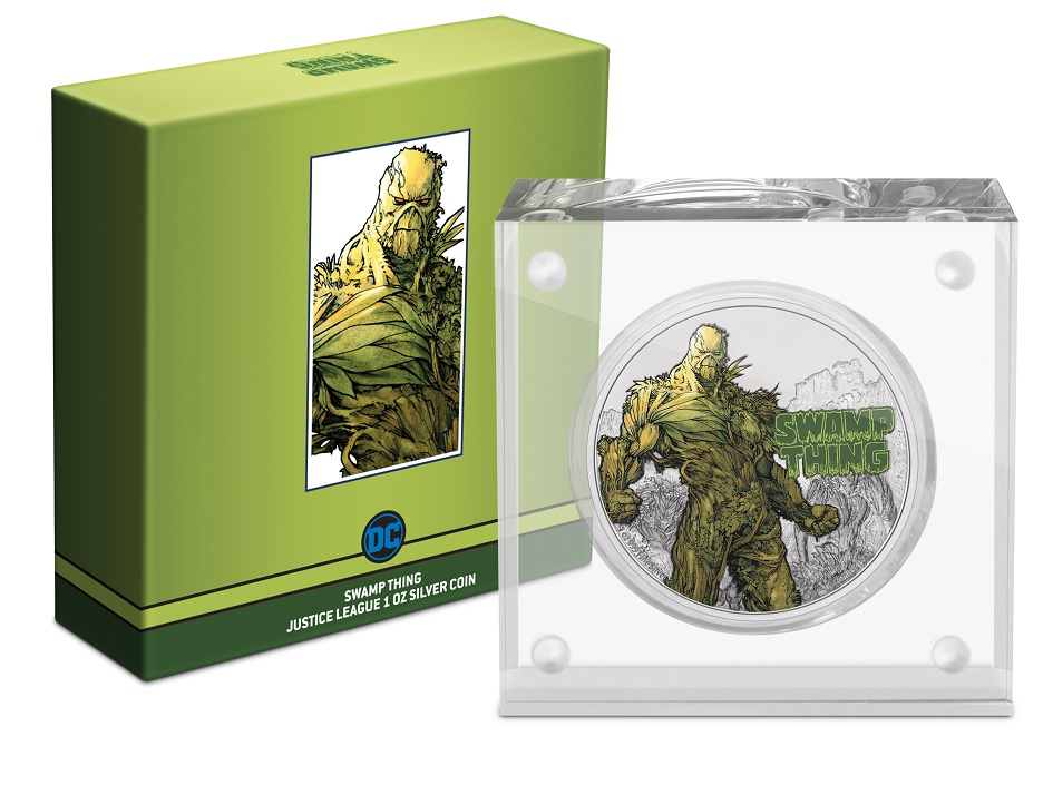 (W160.2.D.2021.NUAG100ST) 2 $ Niue 2021 1 oz Proof silver - Swamp Thing (base and box) (zoom)