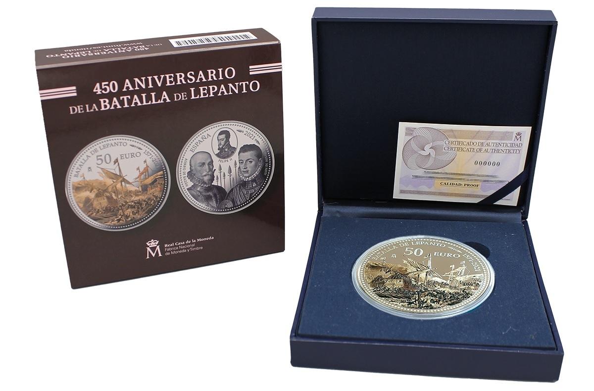 (EUR05.Proof.2021.92917005) 50 € Spain 2021 Proof Ag - Battle of Lepanto (packaging) (zoom)