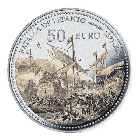 (EUR05.Proof.2021.92917005) 50 euro Espagne 2021 argent BE - Bataille de Lépante Revers