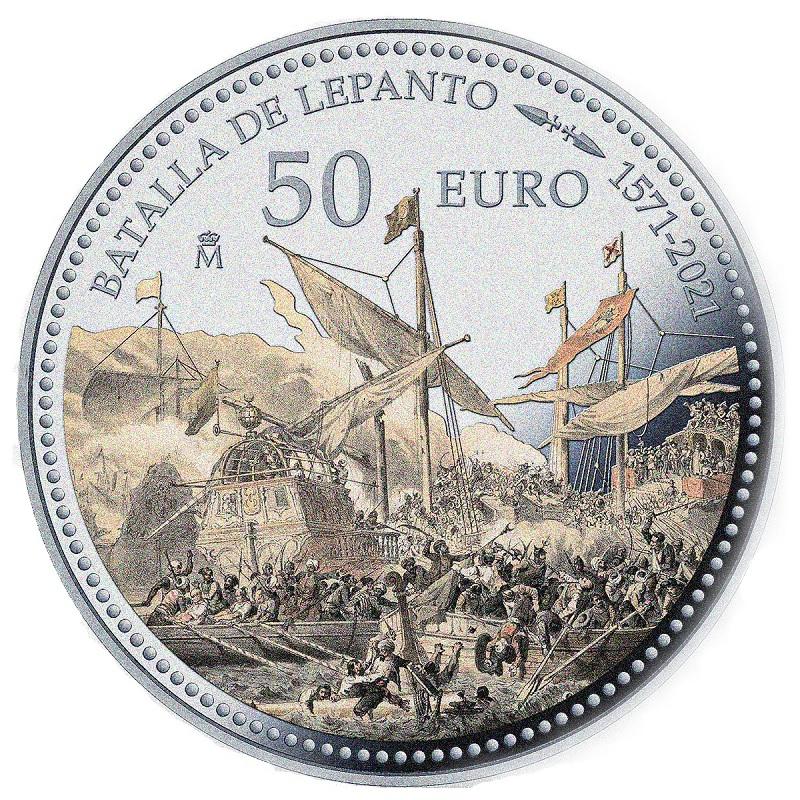 (EUR05.Proof.2021.92917005) 50 euro Spain 2021 Proof silver - Battle of Lepanto Reverse (zoom)