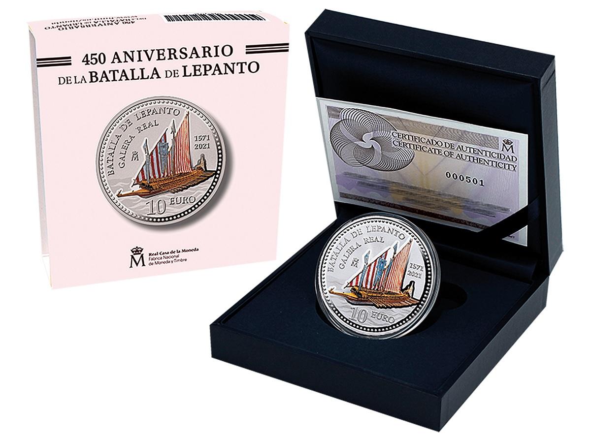 (EUR05.Proof.2021.92917006) 10 € Spain 2021 Proof Ag - Battle of Lepanto (packaging) (zoom)