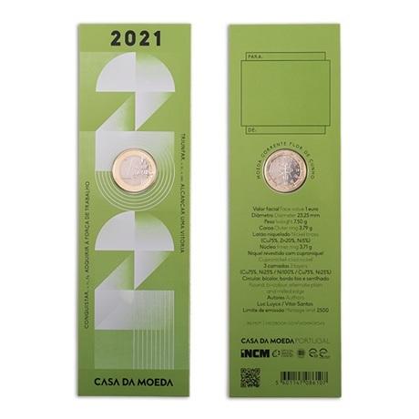 (EUR15.FDC.2021.1022809) Marque-page 1 euro Portugal 2021 FDC - Diplôme