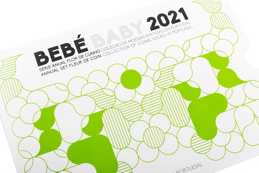 (EUR15.FDC.set.2021.1022807) Uncirculated coin set Portugal 2021 - Baby birth Front (zoom)