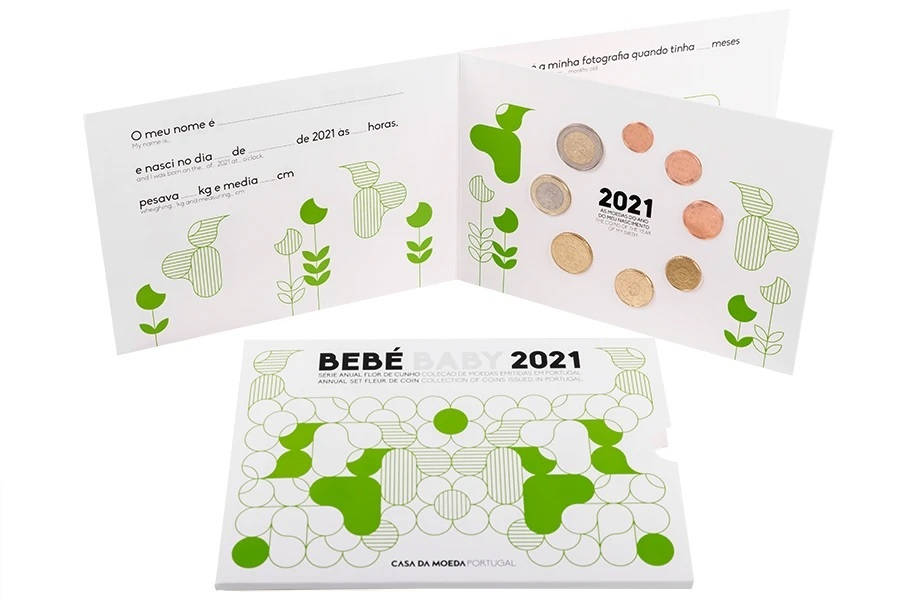 (EUR15.FDC.set.2021.1022807) Uncirculated coin set Portugal 2021 - Baby birth (inside) (zoom)