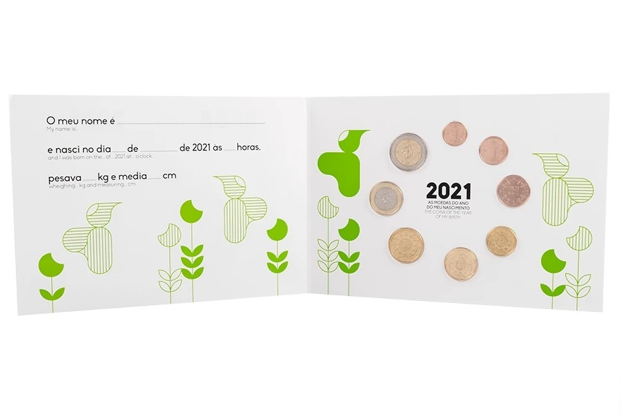 (EUR15.FDC.set.2021.1022807) Uncirculated coin set Portugal 2021 - Baby birth (obverses) (zoom)